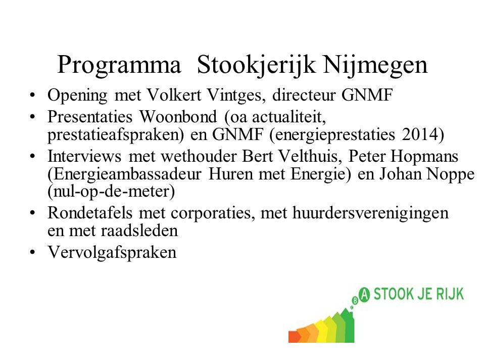 Programma Stookjerijk Nijmegen