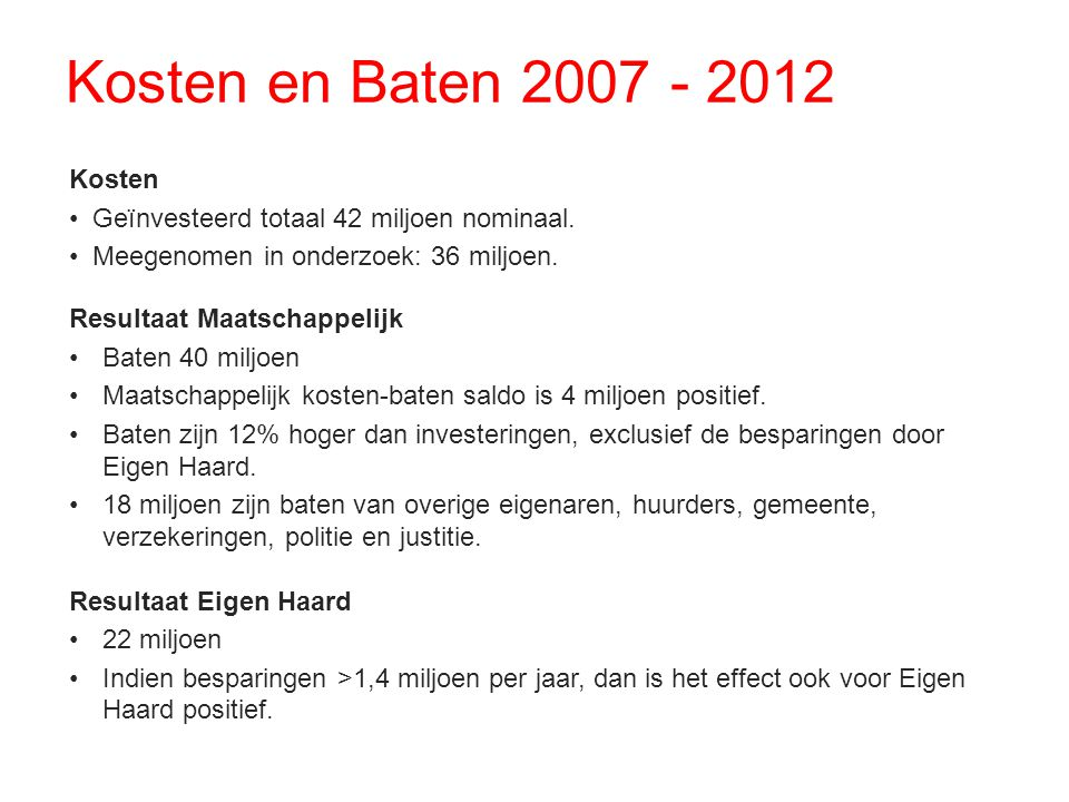 Kosten en Baten 2007 - 2012 Kosten