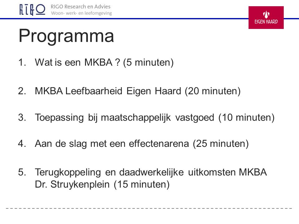 Programma Wat is een MKBA (5 minuten)