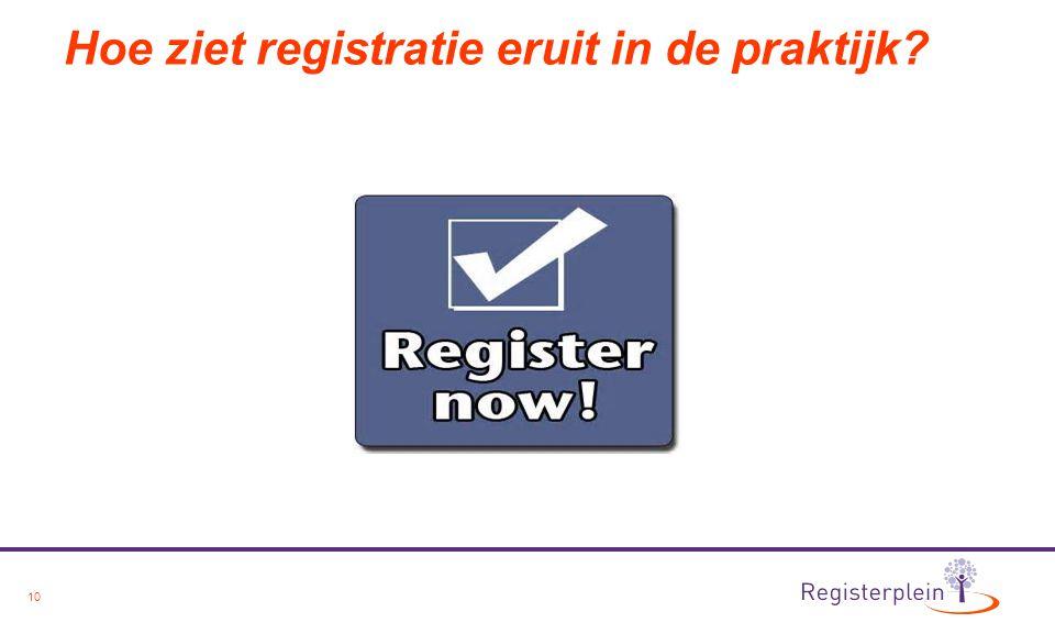 Hoe ziet registratie eruit in de praktijk