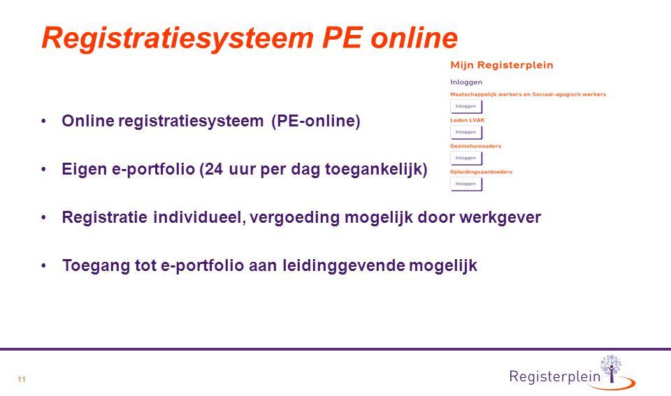 Registratiesysteem PE online
