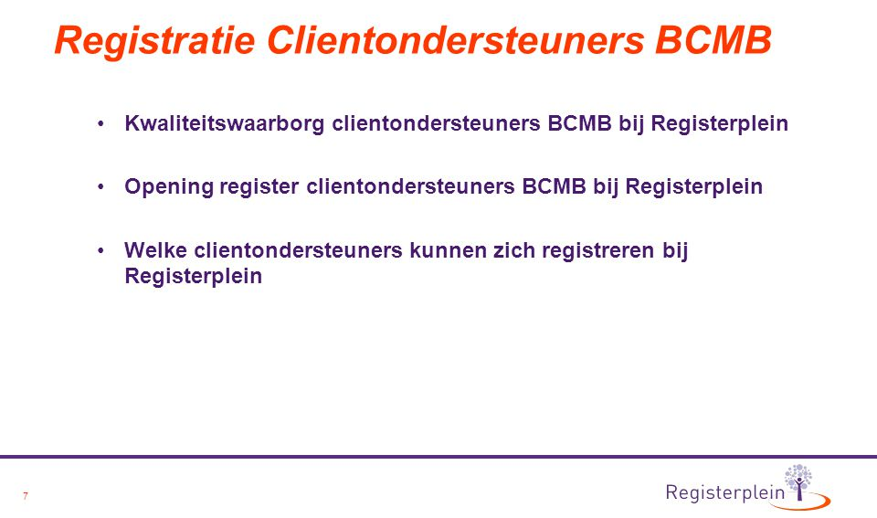 Registratie Clientondersteuners BCMB