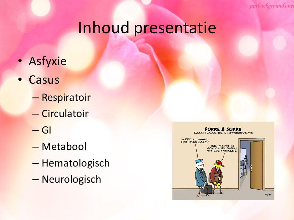 Inhoud presentatie Asfyxie Casus Respiratoir Circulatoir GI Metabool