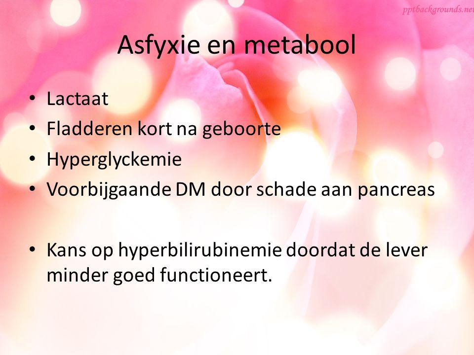Asfyxie en metabool Lactaat Fladderen kort na geboorte Hyperglyckemie