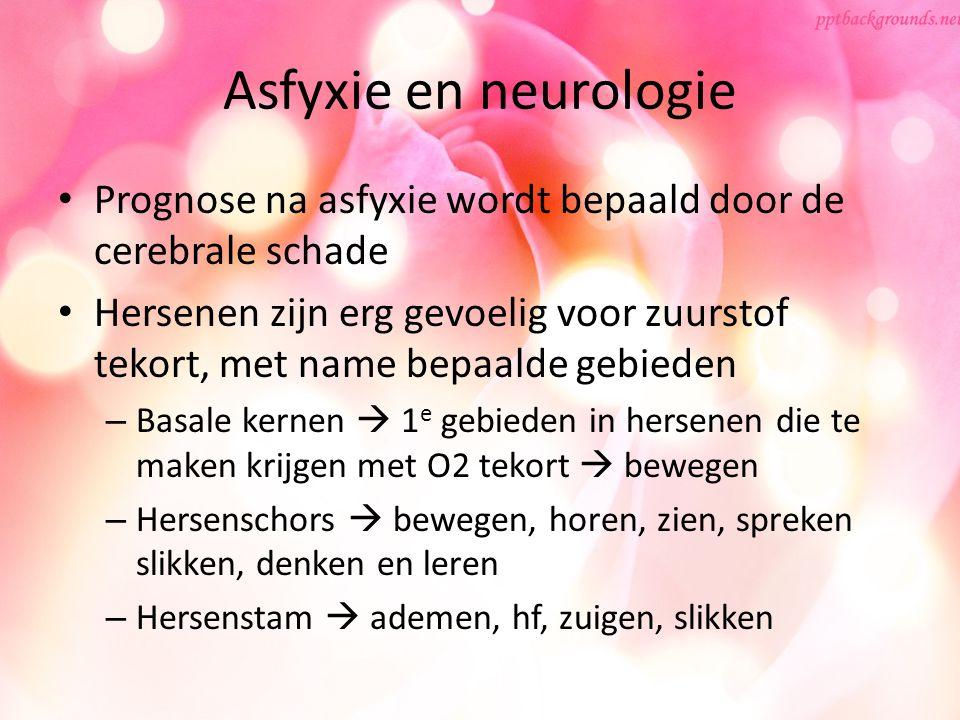 Asfyxie en neurologie Prognose na asfyxie wordt bepaald door de cerebrale schade.