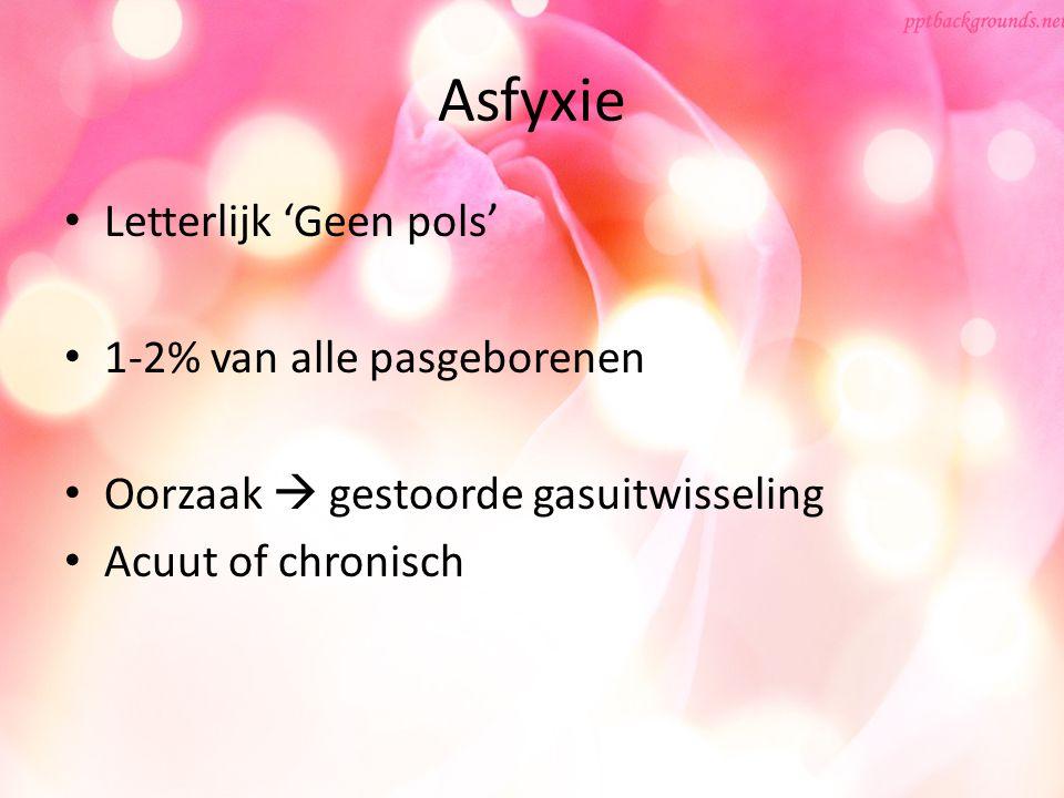 Asfyxie Letterlijk 'Geen pols' 1-2% van alle pasgeborenen