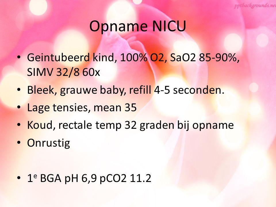 Opname NICU Geintubeerd kind, 100% O2, SaO2 85-90%, SIMV 32/8 60x
