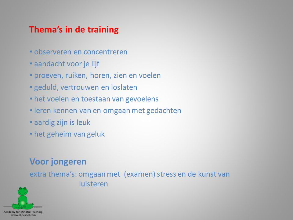 Thema's in de training Voor jongeren observeren en concentreren