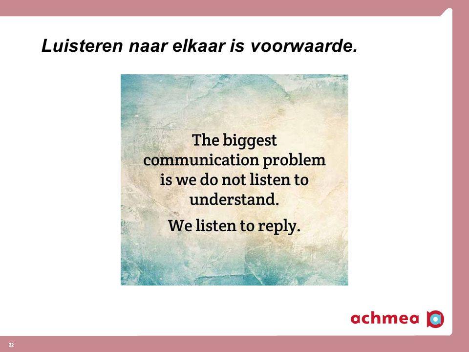 Luisteren naar elkaar is voorwaarde.
