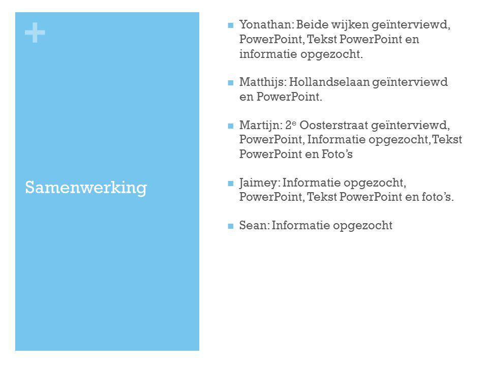 Yonathan: Beide wijken geïnterviewd, PowerPoint, Tekst PowerPoint en informatie opgezocht.