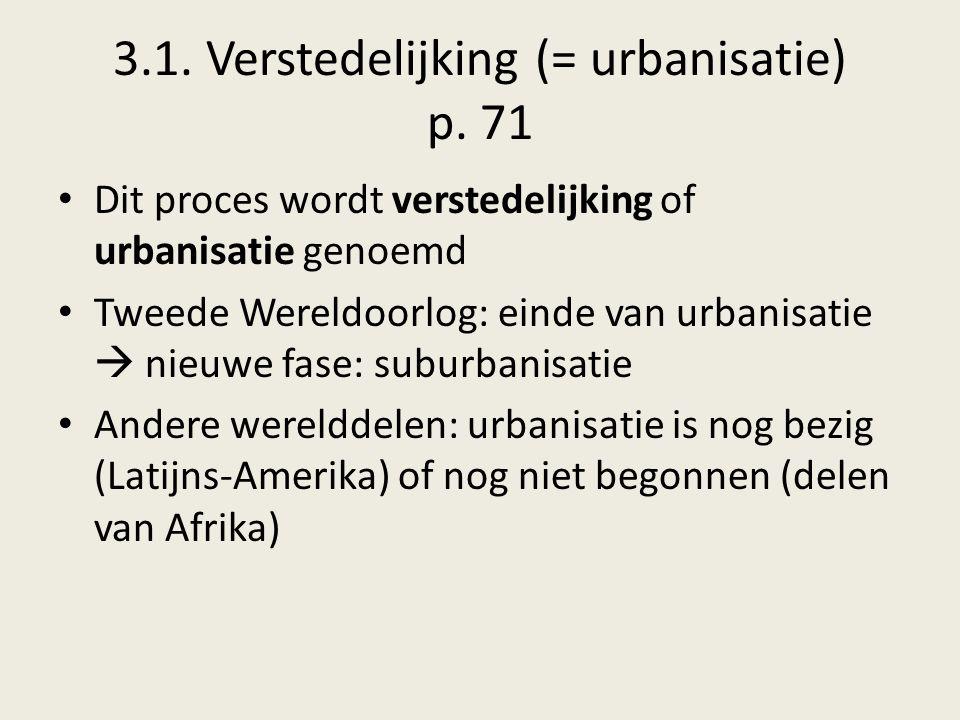 3.1. Verstedelijking (= urbanisatie) p. 71