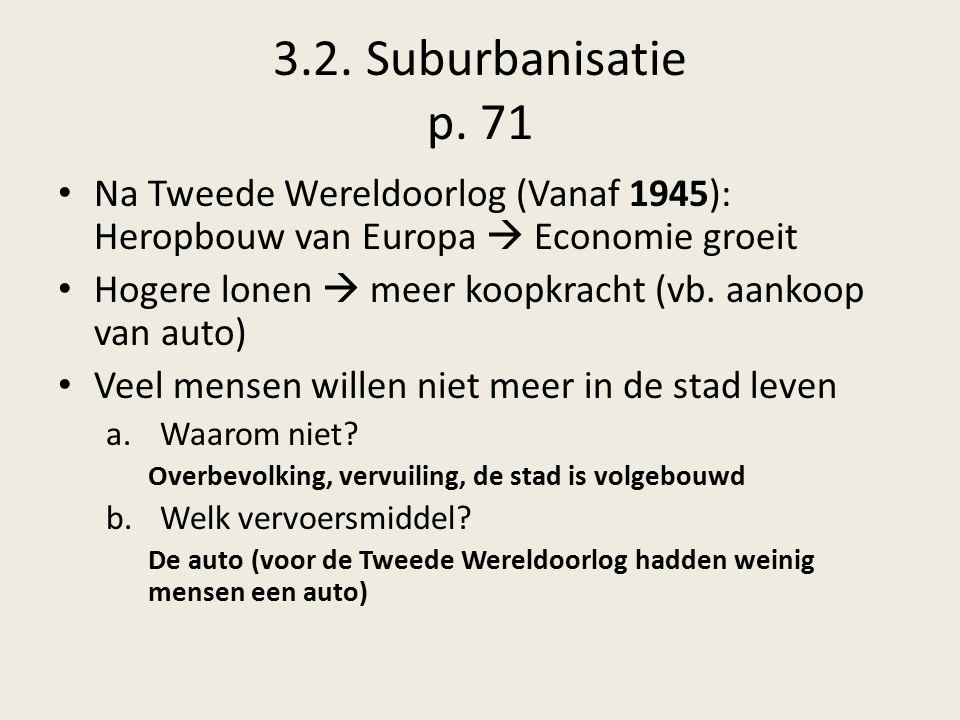 3.2. Suburbanisatie p. 71 Na Tweede Wereldoorlog (Vanaf 1945): Heropbouw van Europa  Economie groeit.