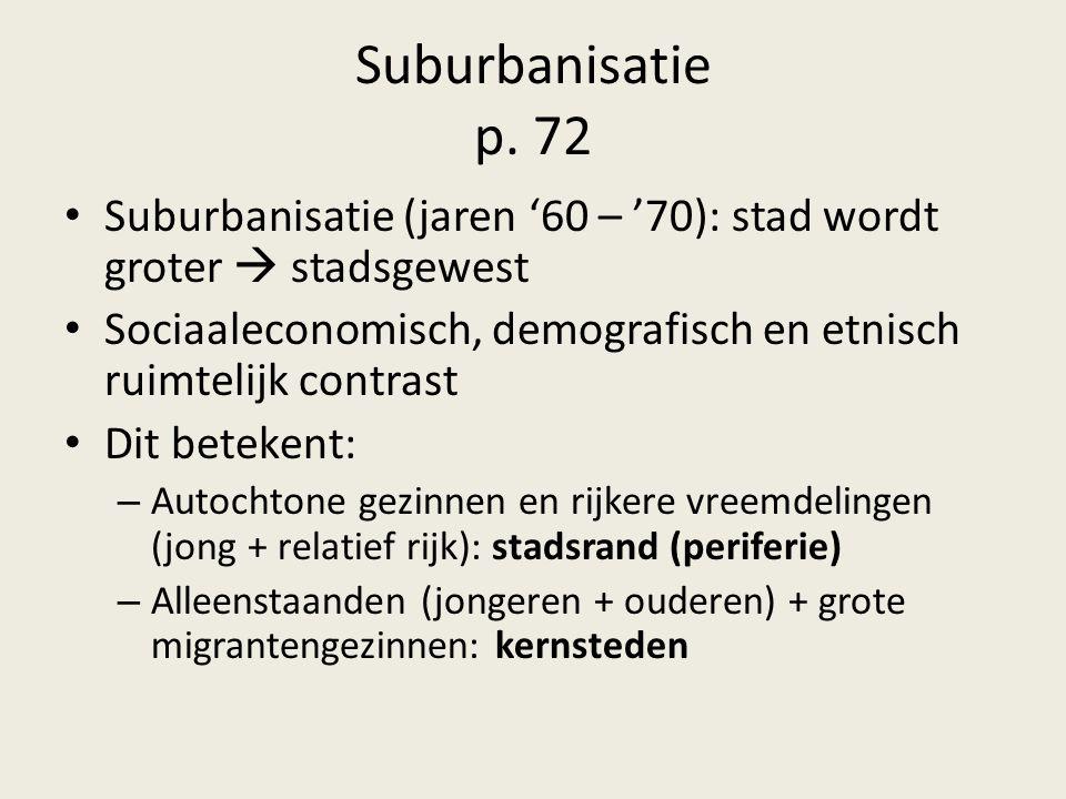 Suburbanisatie p. 72 Suburbanisatie (jaren '60 – '70): stad wordt groter  stadsgewest.