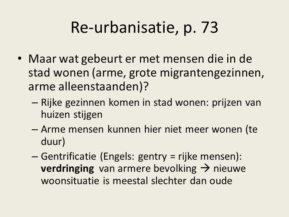 Re-urbanisatie, p. 73 Maar wat gebeurt er met mensen die in de stad wonen (arme, grote migrantengezinnen, arme alleenstaanden)