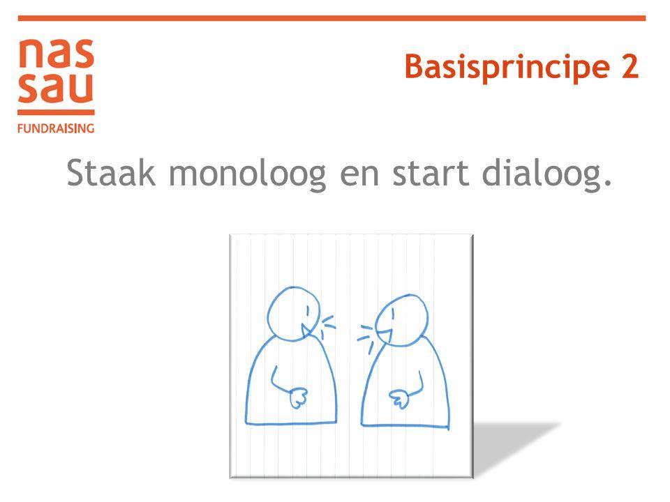 Staak monoloog en start dialoog.