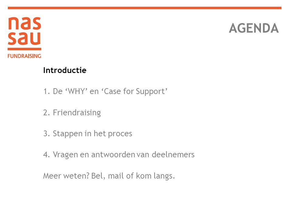 AGENDA Introductie 1. De 'WHY' en 'Case for Support' 2. Friendraising