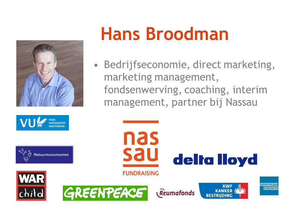 Hans Broodman Bedrijfseconomie, direct marketing, marketing management, fondsenwerving, coaching, interim management, partner bij Nassau.