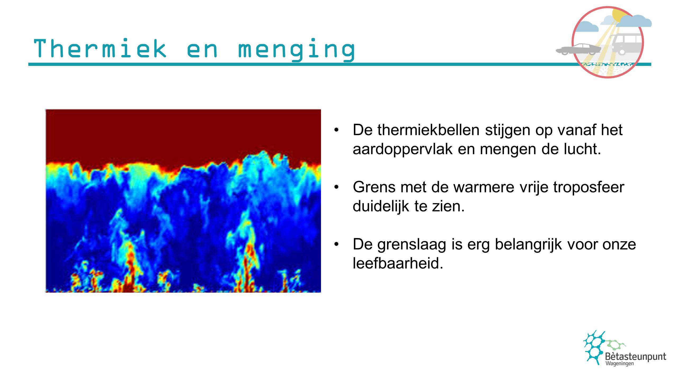 Thermiek en menging De thermiekbellen stijgen op vanaf het aardoppervlak en mengen de lucht.