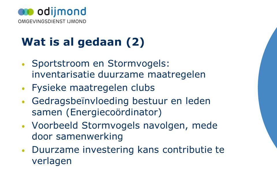 Wat is al gedaan (2) Sportstroom en Stormvogels: inventarisatie duurzame maatregelen. Fysieke maatregelen clubs.
