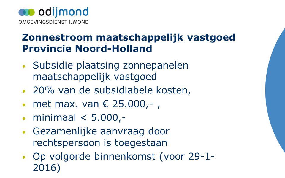 Zonnestroom maatschappelijk vastgoed Provincie Noord-Holland