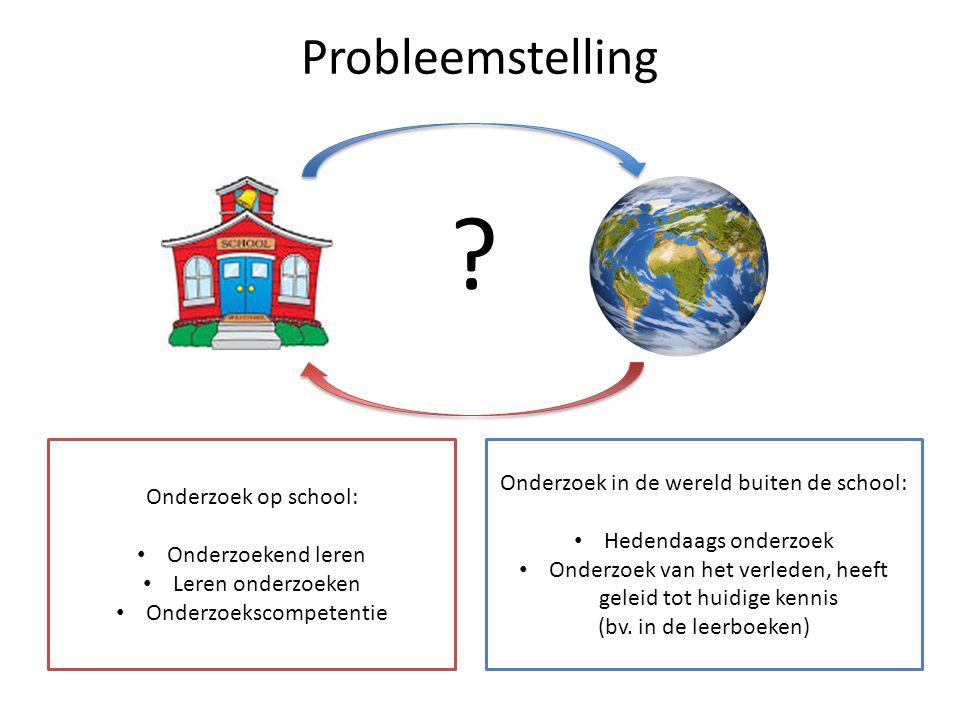 Probleemstelling Onderzoek in de wereld buiten de school: