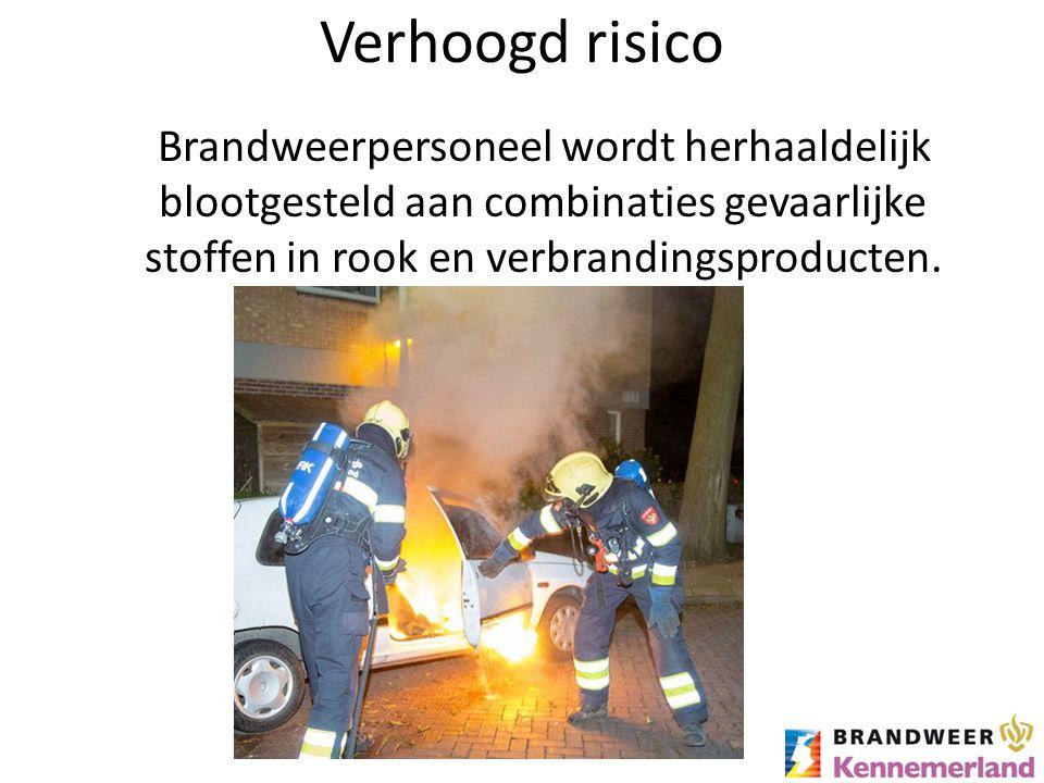 Verhoogd risico Brandweerpersoneel wordt herhaaldelijk blootgesteld aan combinaties gevaarlijke stoffen in rook en verbrandingsproducten.