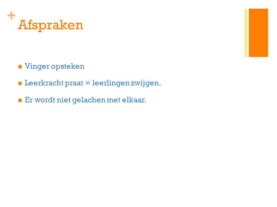 Afspraken Vinger opsteken Leerkracht praat = leerlingen zwijgen.
