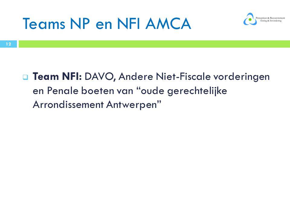 Teams NP en NFI AMCA Team NFI: DAVO, Andere Niet-Fiscale vorderingen en Penale boeten van oude gerechtelijke Arrondissement Antwerpen