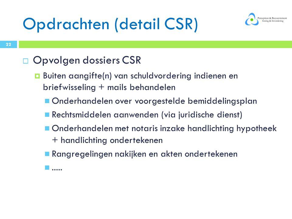 Opdrachten (detail CSR)