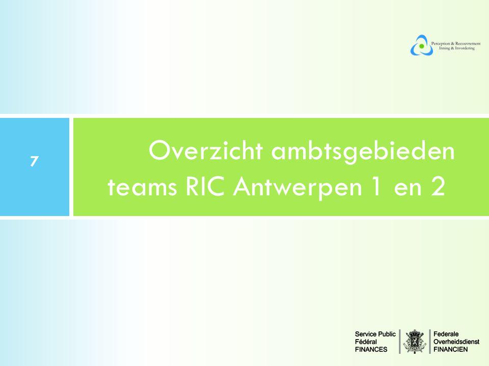 Overzicht ambtsgebieden teams RIC Antwerpen 1 en 2