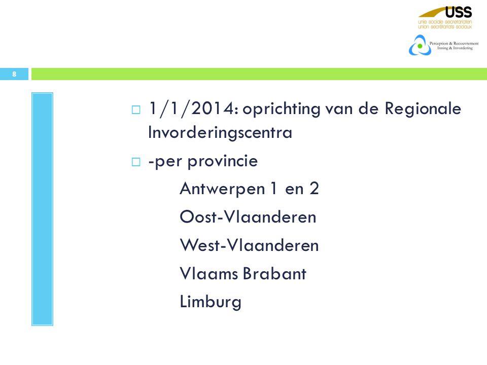 1/1/2014: oprichting van de Regionale Invorderingscentra