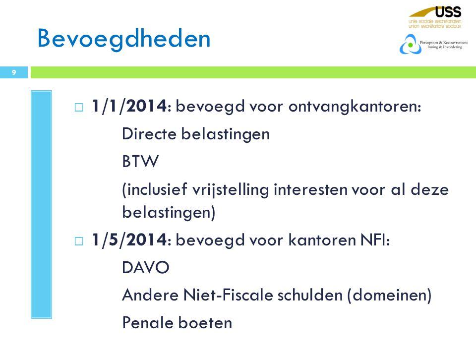 Bevoegdheden 1/1/2014: bevoegd voor ontvangkantoren: