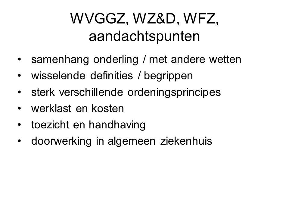 WVGGZ, WZ&D, WFZ, aandachtspunten