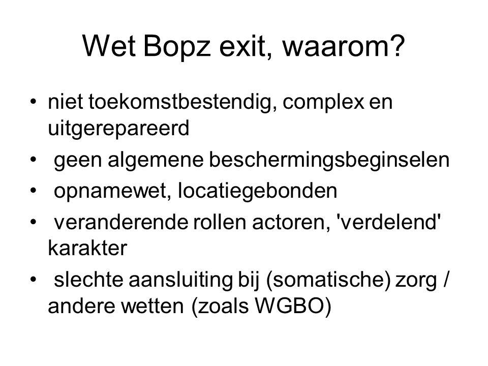 Wet Bopz exit, waarom niet toekomstbestendig, complex en uitgerepareerd. geen algemene beschermingsbeginselen.