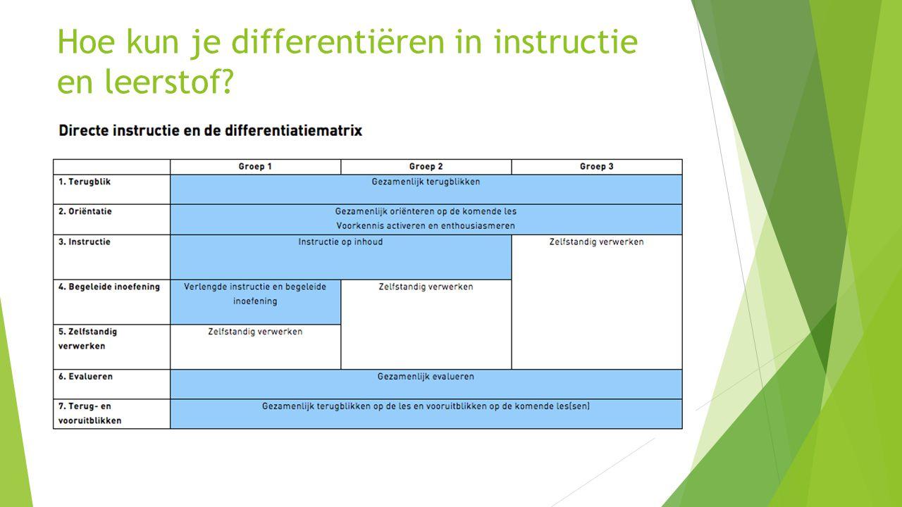 Hoe kun je differentiëren in instructie en leerstof