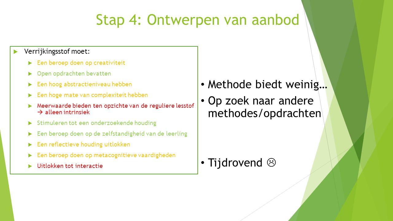 Stap 4: Ontwerpen van aanbod