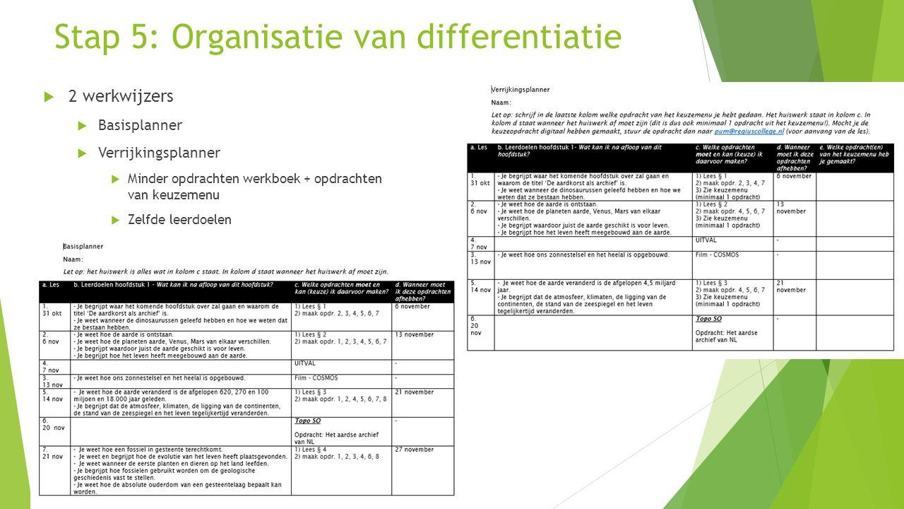 Stap 5: Organisatie van differentiatie