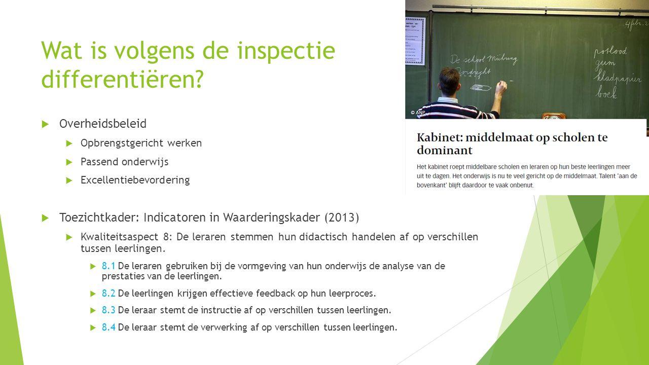 Wat is volgens de inspectie differentiëren