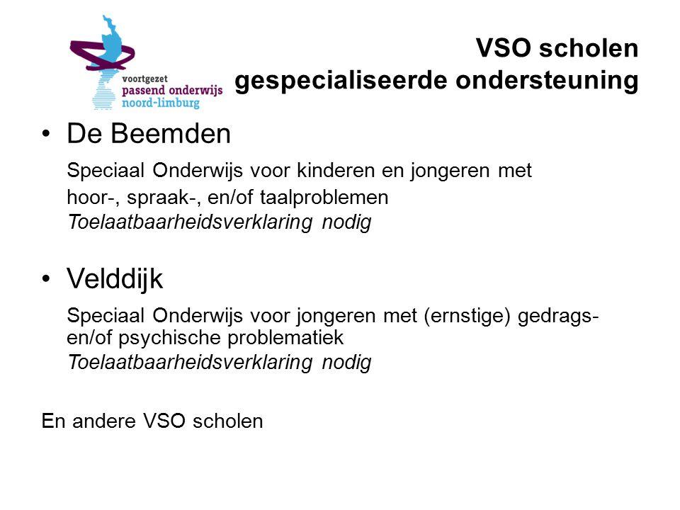 VSO scholen gespecialiseerde ondersteuning