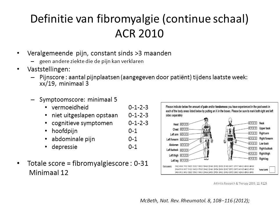 Definitie van fibromyalgie (continue schaal) ACR 2010