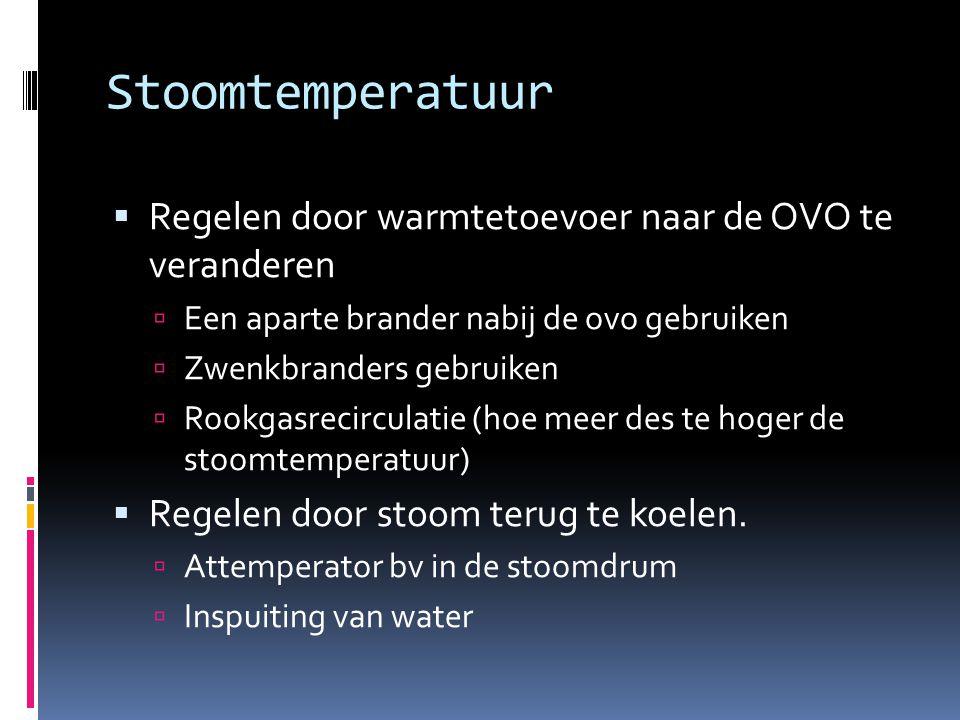 Stoomtemperatuur Regelen door warmtetoevoer naar de OVO te veranderen