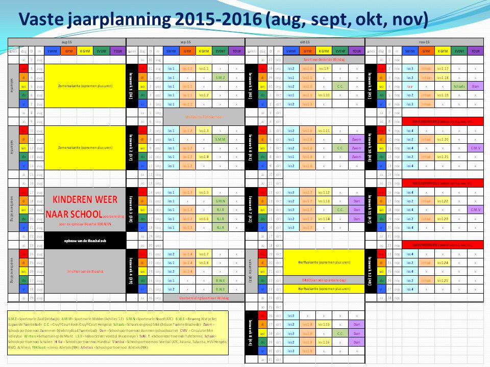 Vaste jaarplanning 2015-2016 (aug, sept, okt, nov)