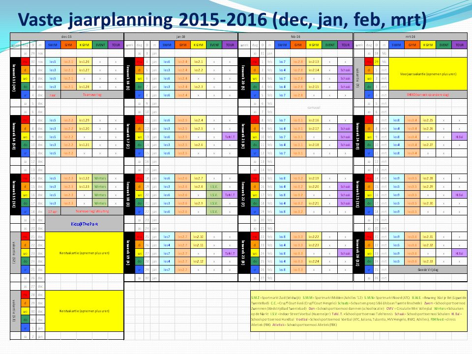 Vaste jaarplanning 2015-2016 (dec, jan, feb, mrt)