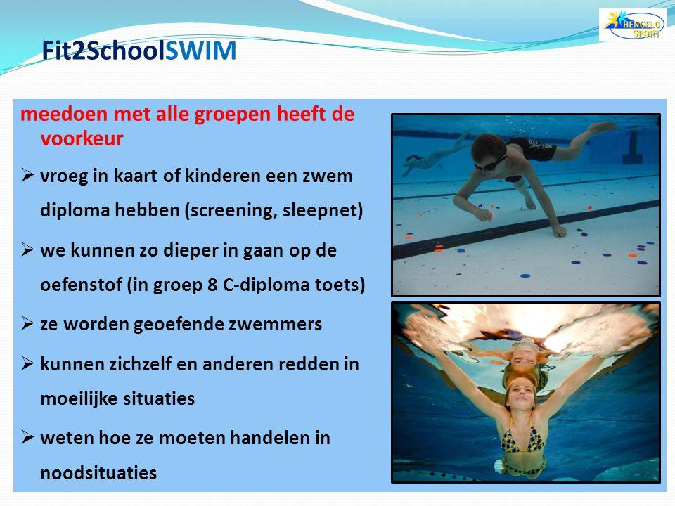Fit2SchoolSWIM meedoen met alle groepen heeft de voorkeur