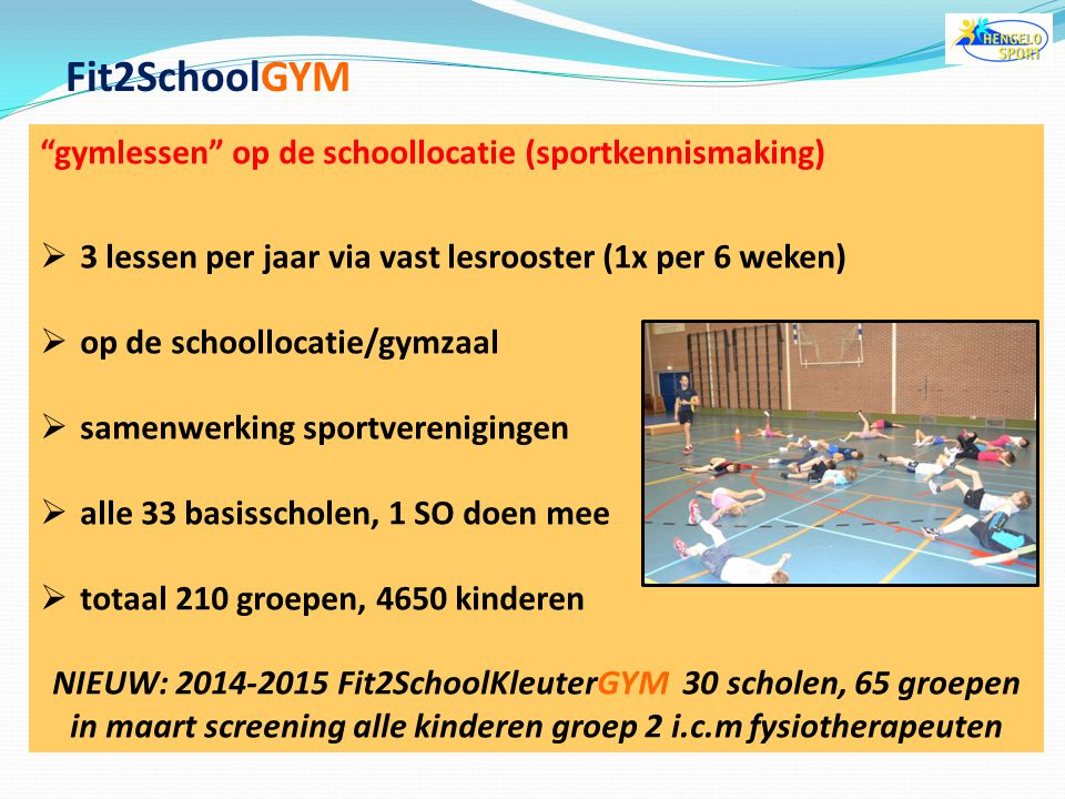 Fit2SchoolGYM gymlessen op de schoollocatie (sportkennismaking)