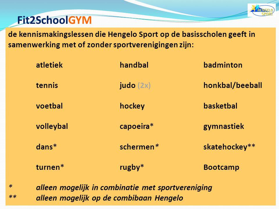 Fit2SchoolGYM de kennismakingslessen die Hengelo Sport op de basisscholen geeft in samenwerking met of zonder sportverenigingen zijn: