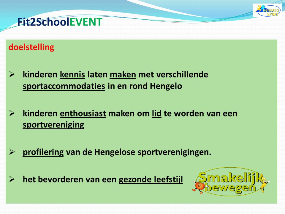 Fit2SchoolEVENT doelstelling