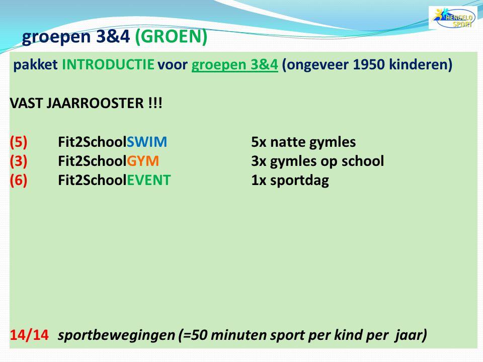 groepen 3&4 (GROEN) pakket INTRODUCTIE voor groepen 3&4 (ongeveer 1950 kinderen) VAST JAARROOSTER !!!