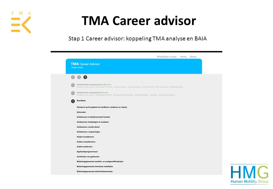 TMA Career advisor Stap 1 Career advisor: koppeling TMA analyse en BAIA