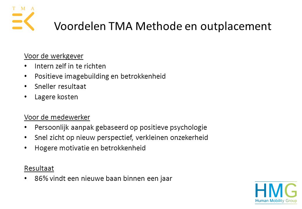 Voordelen TMA Methode en outplacement